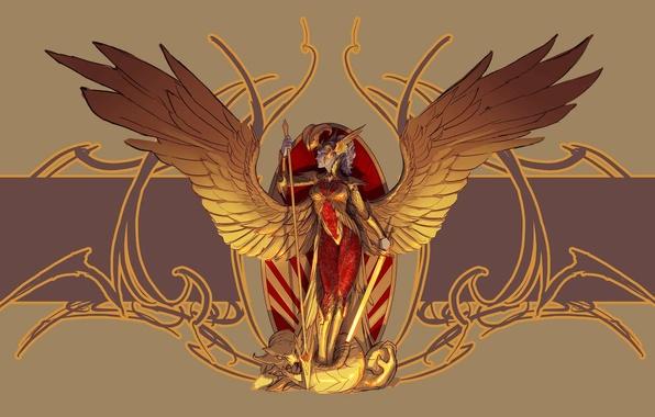 Картинка взгляд, оружие, фантастика, крылья, ангел, доспехи, арт, профиль, броня