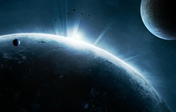 Картинка звезды, поверхность, огни, планета, атмосфера, астероиды, спутники, цивилизация