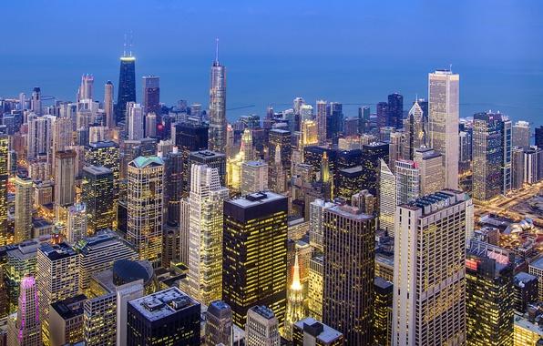 Картинка город, огни, здания, дома, небоскребы, вечер, освещение, Чикаго, USA, США, Иллинойс, Illinois, высотки, Chicago Loop