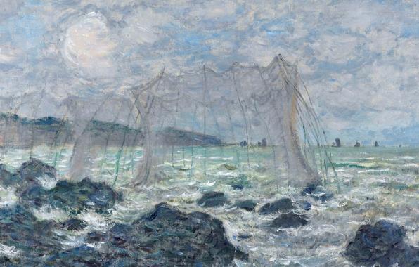 Фото обои картина, морской пейзаж, Клод Моне, Рыболовные Сети в Пурвиле