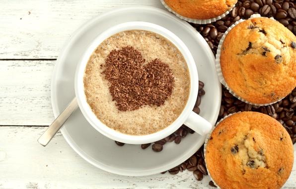 Картинка любовь, сердце, кофе, шоколад, love, heart, cup, cupcake, кексы, beans, coffee