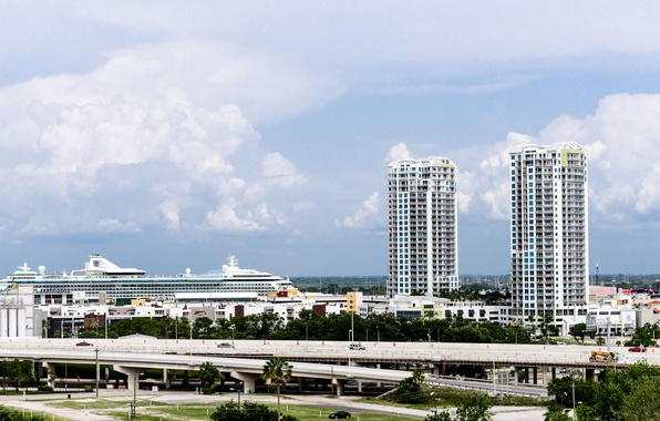 Картинка белый, небо, дом, голубой, здание, корабль, облако, house, white, лайнер, сша, sky, blue, cloud, usa, …