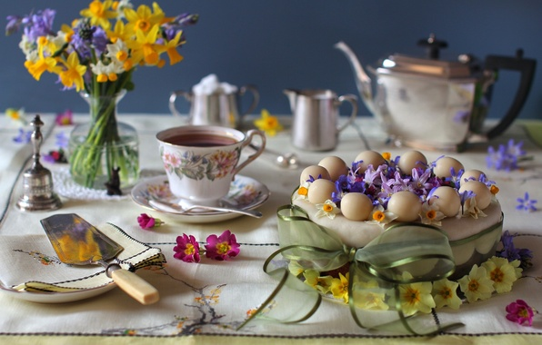 Картинка цветы, чай, букет, торт, бант, нарцисс, гиацинт, примула