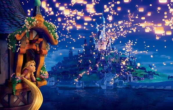 Картинка мечты, цветы, lights, башня, вечер, огоньки, Рапунцель, фонарики, принцесса, night, evening, Tangled, Запутанная история, Rapunzel, …