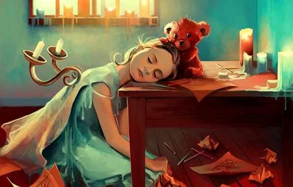 Картинка бумага, стол, свечи, карандаши, арт, мишка, девочка, подсвечники