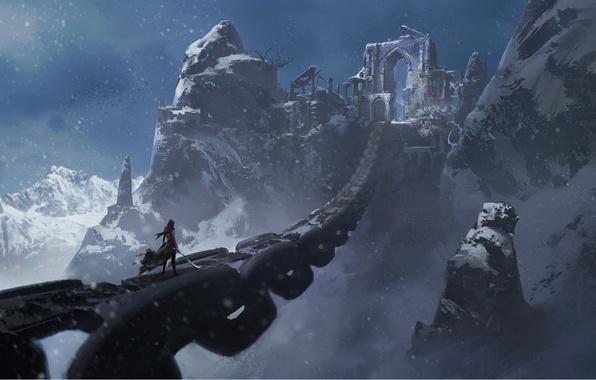 Картинка холод, девушка, снег, мост, оружие, скалы, фэнтези, арт