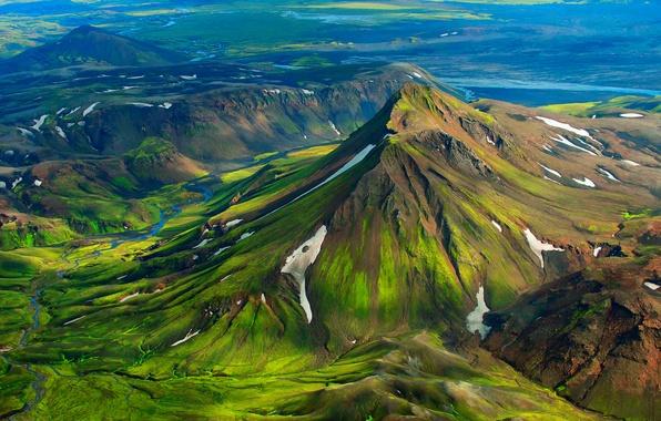 Фото обои холмы, долина, горы, Исландия