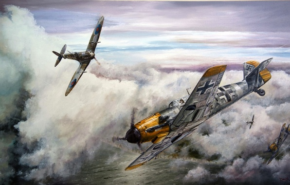 Картинка aircraft, war, spitfire, airplane, aviation, dogfight, me 109, bf 109