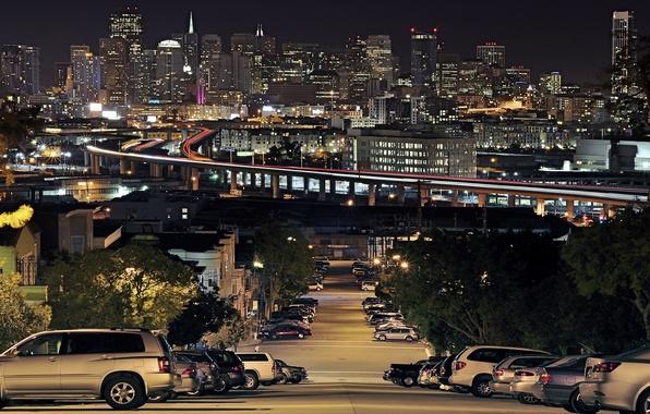 Картинка Дома, Дорога, Огни, Ночь, Город, Машины, Сан-Франциско, Горка, Portrero Hill