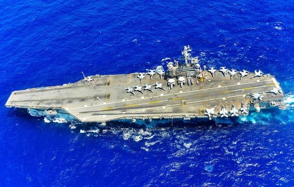 Картинка оружие, армия, флот, aircraft carrier, USS Ronald Reagan (CVN 76), PACIFIC OCEAN