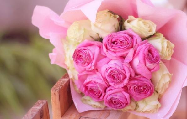 Картинка белый, цветы, фон, widescreen, обои, розы, букет, wallpaper, розовые, цветочки, широкоформатные, background, полноэкранные, HD wallpapers, …