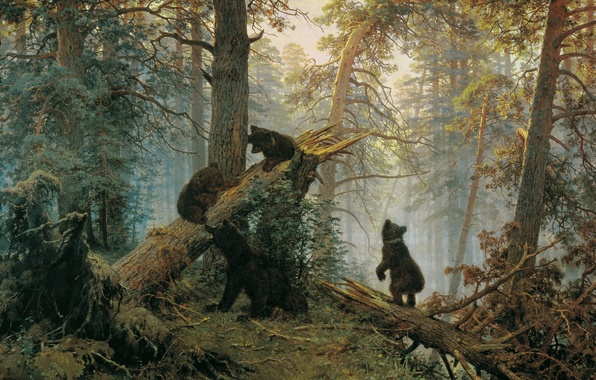 Картинка лес, медведи, Иван Иванович Шишкин, Утро в сосновом лесу