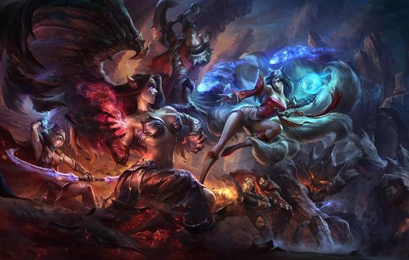 Картинка девушки, магия, крылья, арт, битва, League of Legends, Ahri, Morgana