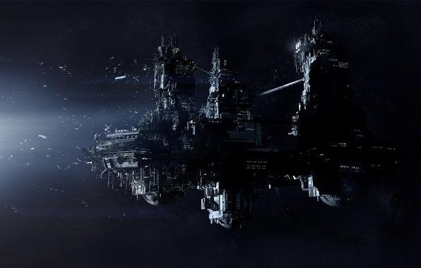 Картинка Звезды, Космос, Корабль, Свет, Космический Корабль, Обломки, Creative Assembly, PS4, Sega, Xbox One, Alien: Isolation