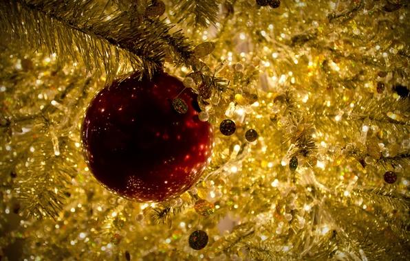 Картинка красный, игрушка, шар, Рождество, золотой, мишура, Christmas, New Year, елочная