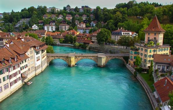 Картинка небо, пейзаж, горы, мост, река, дома, Швейцария, Берн