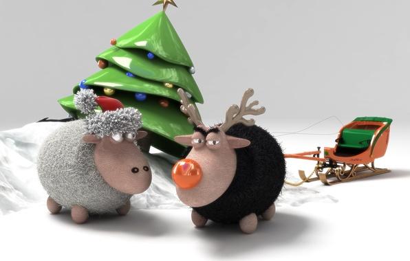 Картинка игрушка, елка, новый год, овечки