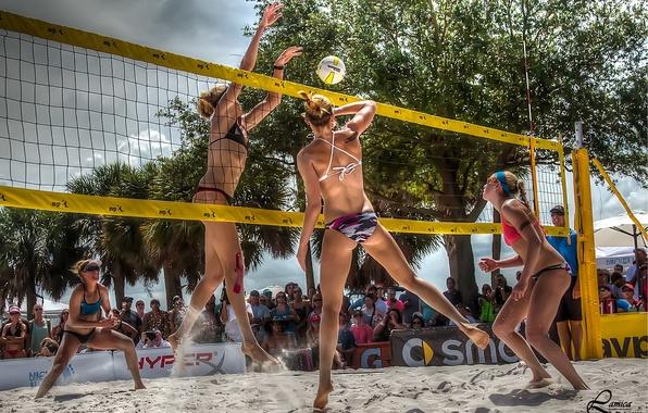 Картинка девушки, сетка, игра, мяч, hdr, волейбол, подача, пляжный