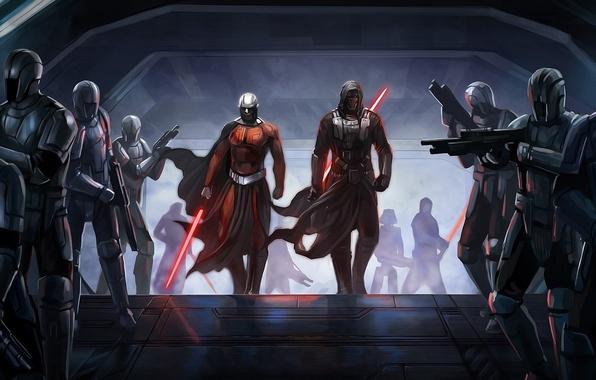 Картинка корабль, Star Wars, солдаты, мечи, Darth Malak, Knights Of The Old Republic, Dart Revan