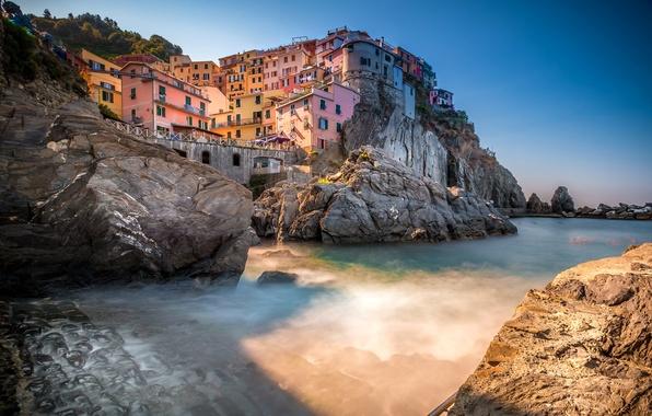 Картинка море, скалы, дома, Италия, Манарола, Чинкве-Терре, Лигурийское побережье