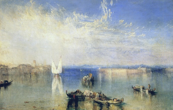 Картинка море, небо, город, дома, картина, лодки, Venice, морской пейзаж, Campo Santo, Уильям Тёрнер