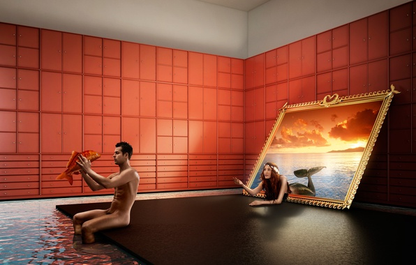 Картинка море, вода, закат, комната, русалка, рыба, картина, мужчина