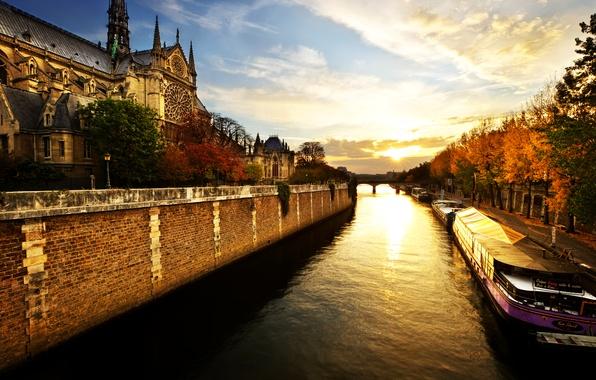 Картинка река, рассвет, Париж, утро, Нотр-Дам