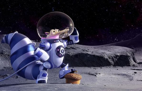 Картинка cinema, Ice Age, moon, stars, cartoon, movie, animal, planet, nuts, film, pose, squirrel, galaxies, cosmonaut, ...