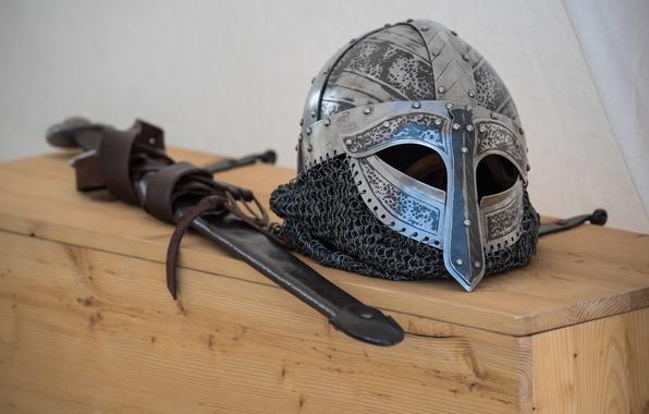 Фото обои меч, викингов, шлем