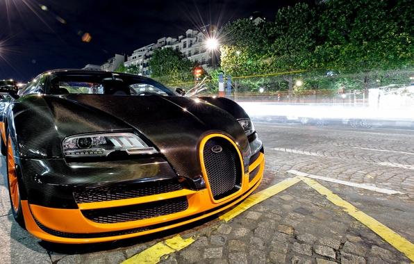 Картинка черный, тюнинг, veyron, bugatti, бугатти, вейрон, гиперкар