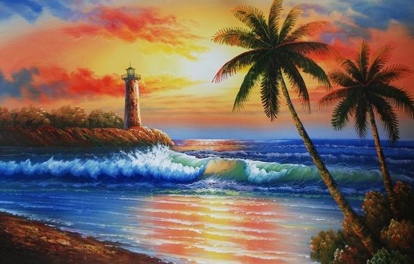 Картинка море, волны, небо, закат, пальмы, маяк, остров, живопись