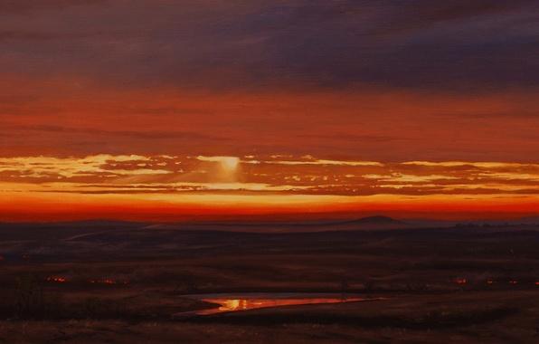 Картинка небо, вода, облака, свет, пейзаж, отражение, степь, пожар, огонь, рассвет, картина, равнина, утро, арт, Brian ...
