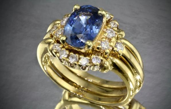 Картинка синий, камень, кольцо, бриллианты, золотое, драгоценный