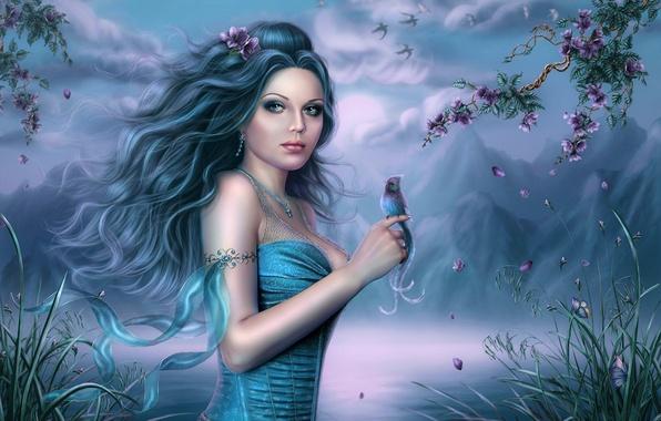 Картинка девушка, облака, цветы, горы, озеро, пруд, дерево, птица, арт, Ivenzia