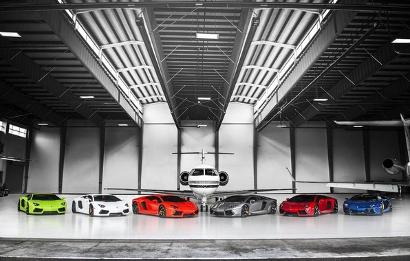 Картинка Lamborghini, Самолет, Orange, Red, Blue, Green, White, LP700-4, Aventador, Supercars, Silver, Суперкары, Plane