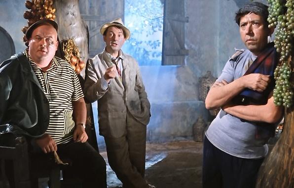 Фото обои бывалый, комедия, Моргунов, трус, Вицин, Кавказская пленница, балбес, Никулин