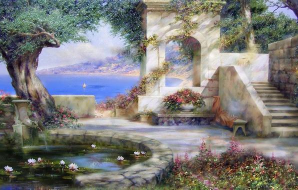 Картинка море, лето, радость, цветы, пруд, дерево, рай, Солнце, красота, тень, картина, парус, крым, живопись, кувшинки, …