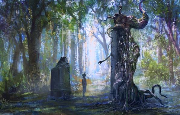 Картинка лес, деревья, листва, камень, змея, мальчик, памятник, статуя
