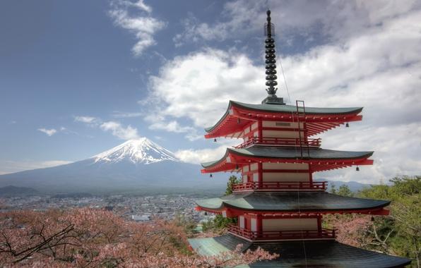 Картинка гора, вулкан, Япония, сакура, Фудзи, панорама, пагода, Japan, Mount Fuji, Фудзияма, Chureito Pagoda, Fujiyoshida, Фудзиёсида