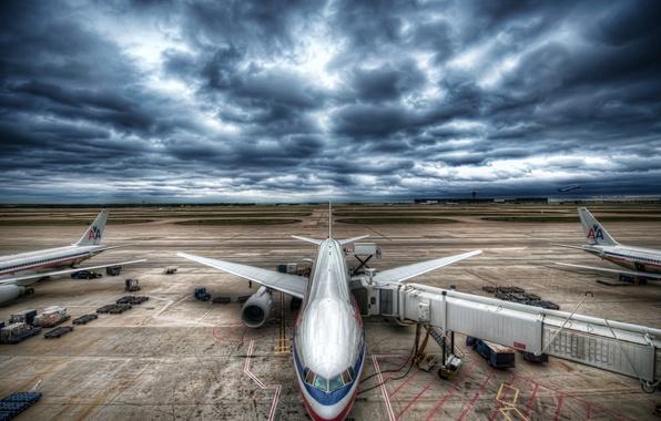 Картинка небо, авиация, тучи, самолет, аэропорт, грозовое небо