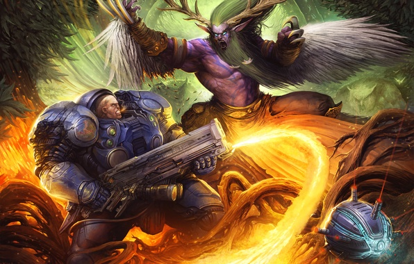 Картинка бой, starcraft, броня, Warcraft, схватка, wow, art, друид, Heroes of the Storm, moba, Malfurion, Tychus, …