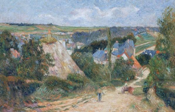 Картинка дорога, пейзаж, дома, картина, деревня, Поль Гоген, Entrance to the Village of Osny