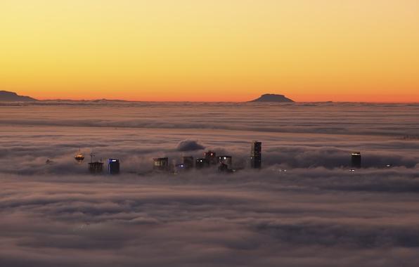 Картинка облака, закат, туман, дома, Канада, Ванкувер