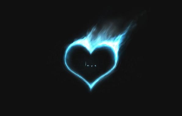 Картинка любовь, синий, огонь, сердце, минимализм