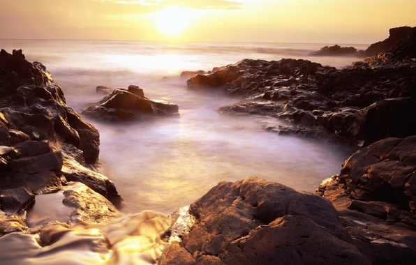 Картинка солнце, природа, туман, восход, камни