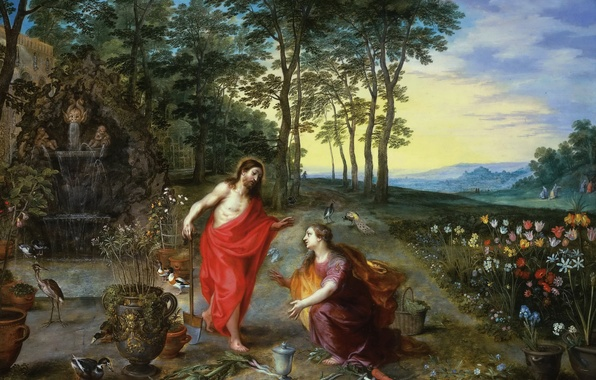 Картинка картина, мифология, Ян Брейгель младший, Не Прикасайся ко Мне