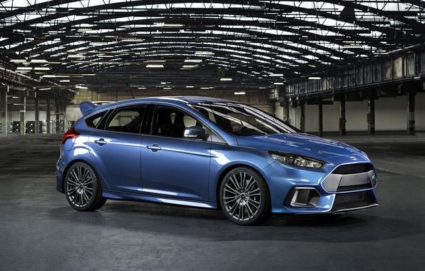 Картинка фото, Ford, Голубой, Автомобиль, Сбоку, 2015, Металлик, Focus RS