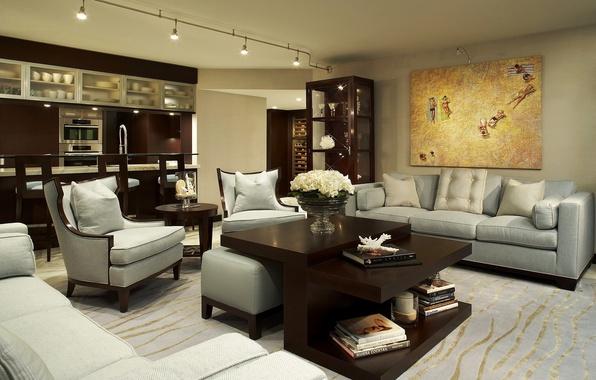 Картинка диван, мебель, книги, картина, подушки, кресла, кухня, ваза, столик, цветы., гостиная, interior, интерер