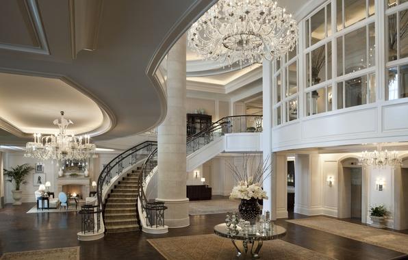 Картинка дом, стол, обои, вилла, интерьер, паркет, лестница, люстра, wallpaper, камин, пентхаус, квартира, дорого, penthouse, холл, …