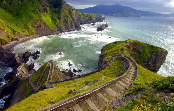 Картинка дорога, море, скалы, берег, Испания
